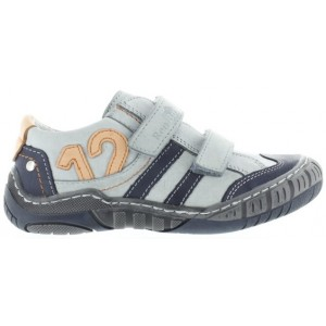 Gray leather shoes for kids that are wide