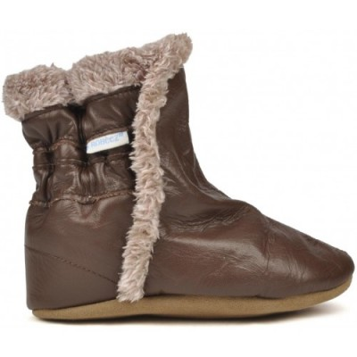 Booties for kids in brown leather Robeez