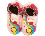 Soft sole leather slippers for toddler in pink leather
